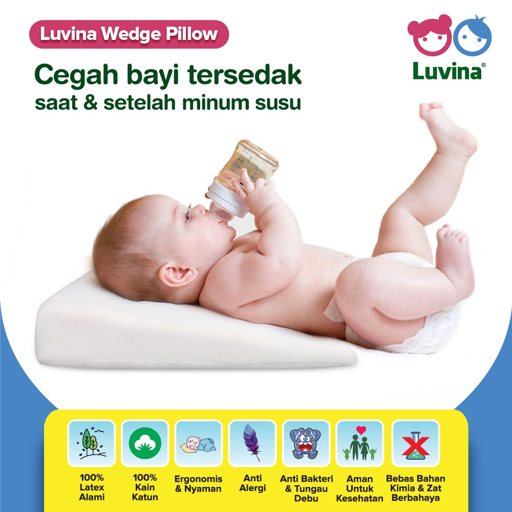GEMPITA BANTAL LATEX ANAK INFANT BOLSTER INFANT PILLOW KIDS PILLOW TODDLER PILLOW NEWBORN PILLOW POSITIONER BOLSTER LUVINA HEALTHY LATEX FOR BABY BUKAN BABYBEE MATRAS LATEX ANAK WEDGE PILLO