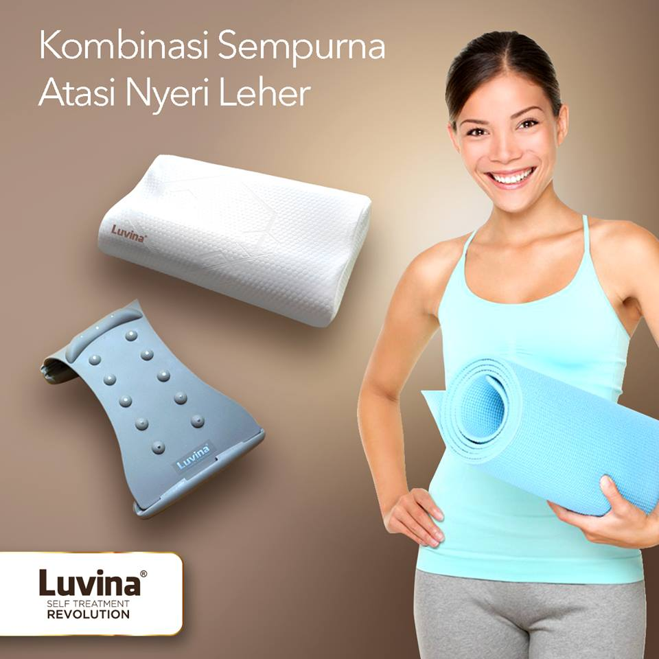 LUVINA NECK STRETCHER LUVINA ADVANCED CONTOUR PILLOW EFEKTIF MENGATASI SEGALA KETIDAKNYAMANAN DI BAGIAN LEHER & PUNDAK BADAN LEBIH SEGAR BEBAS NYERI LEH