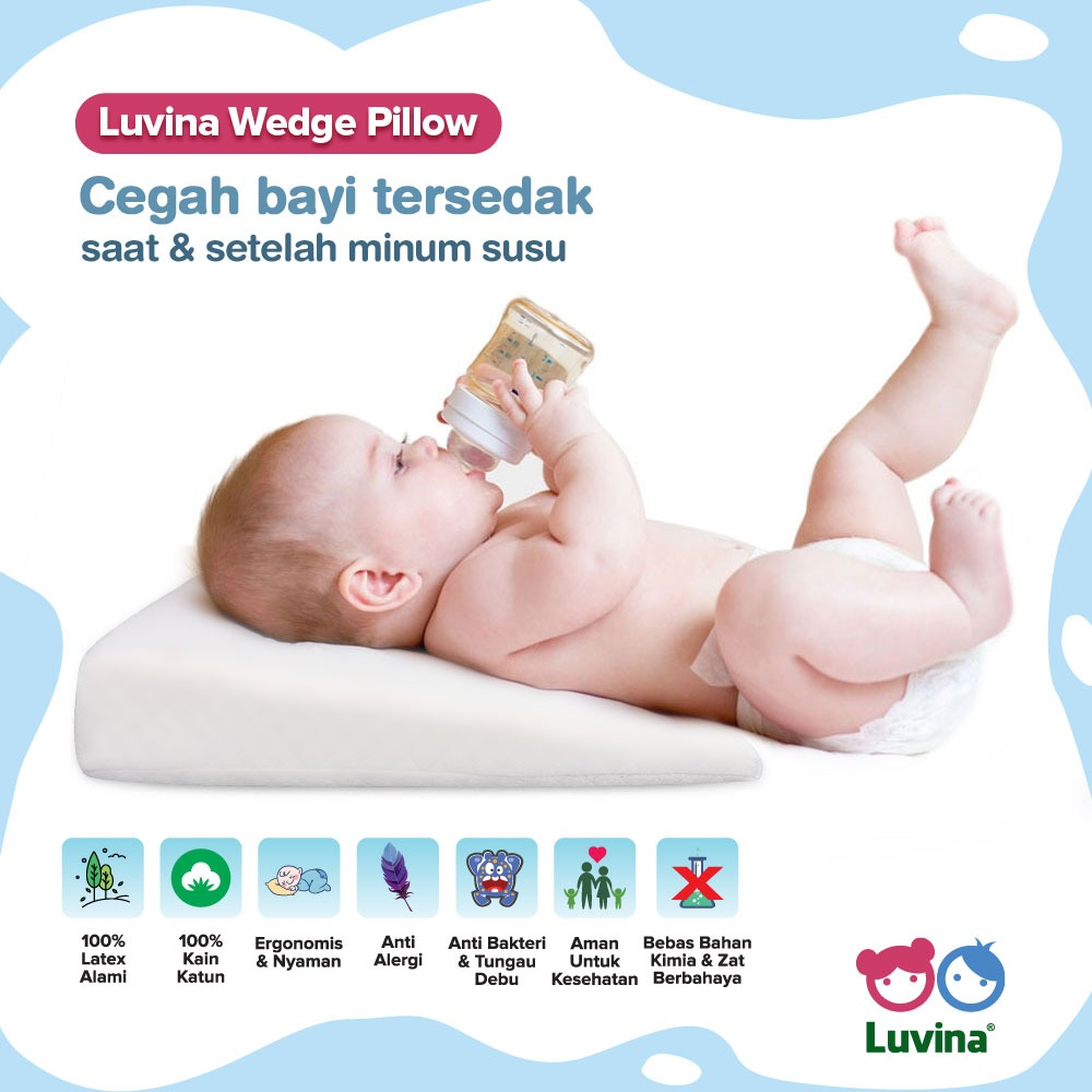 LUVINA WEDGE PILLOW FOR COMFORT BABY WHILE AND AFTER DRINK MILK