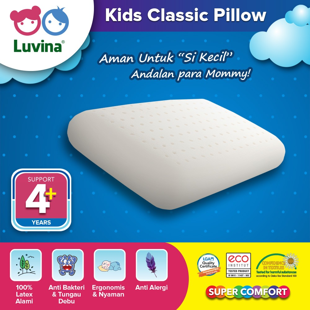 LUVINA KIDS CLASSIC PILLOW, BANTAL ANTI NYERI LEHER, BANTAL 100% NATURAL LATEX, BANTAL ANAK ANTI DENGKUR, BUKAN BABYBEE, BUKAN DOOGLEE,