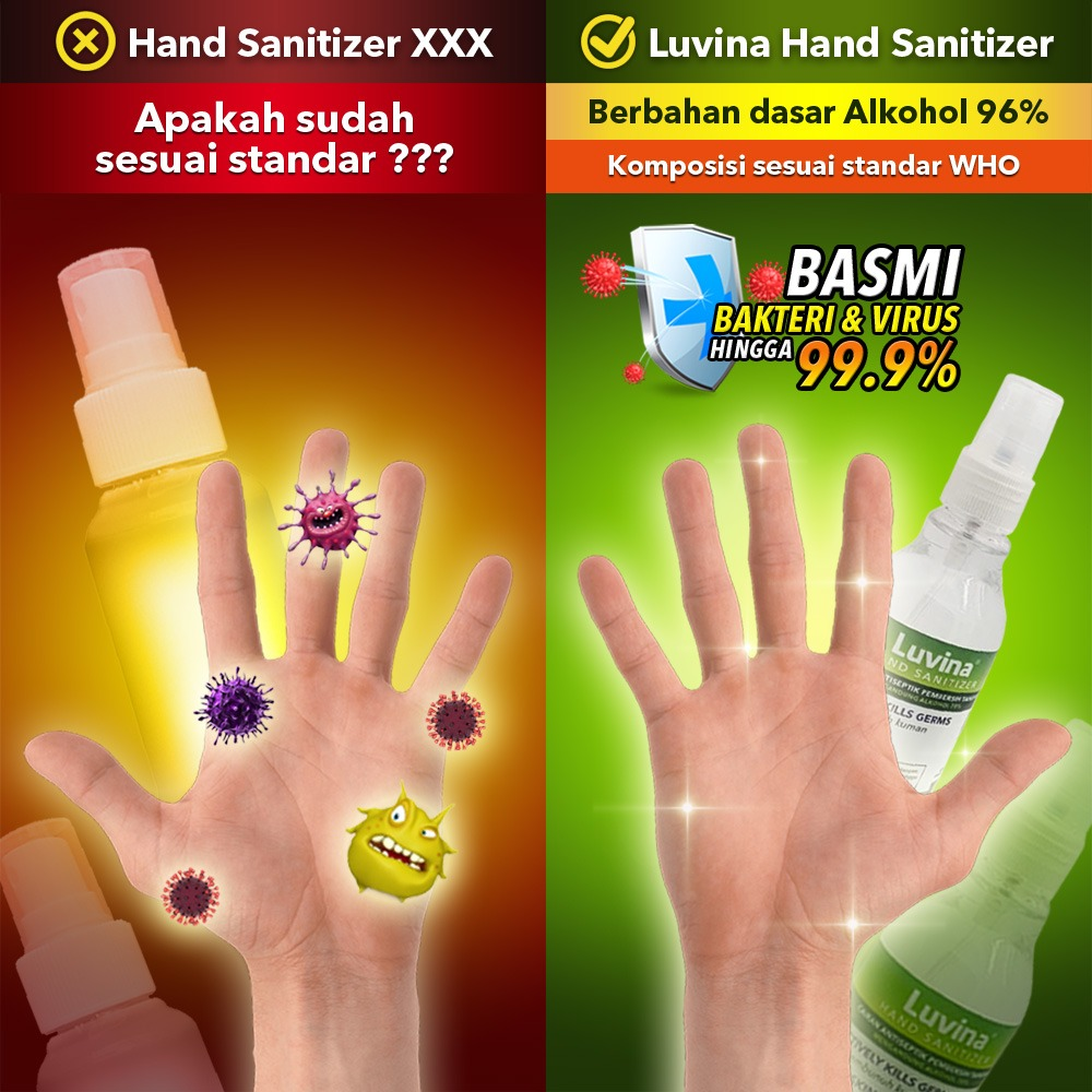 LUVINA HAND SANITIZER COMPLY WITH WHO STANDARD